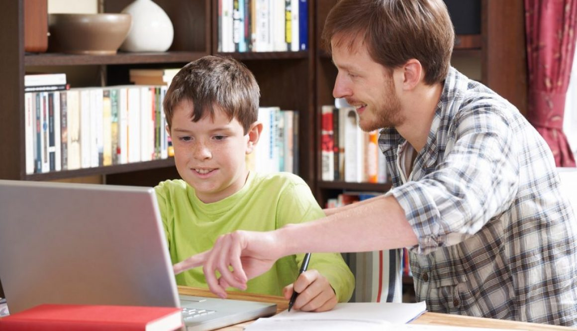 Boy Studying With Home Tutor